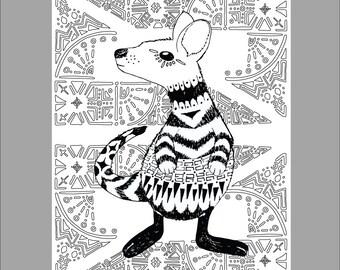 Patterned Kangaroo Printable Coloring Sheet