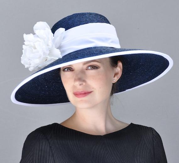 Navy and White Hat, Wedding Hat, Formal Hat. Ascot Hat, Audrey Hepburn Hat, Derby Hat, Wide brim hat, occasion hat