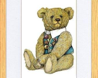 Waistcoat & Badges Bear Picture Oak Framed Print Art By Kevin Wood 2 Sizes Uk Artist