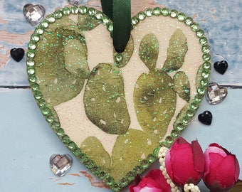 Cactus Hanging Heart, Wooden, green rhinestones, country cottage chic, boho decor