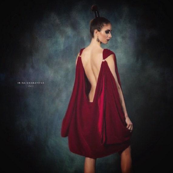 Irina Shabayeva draped velvet dress.