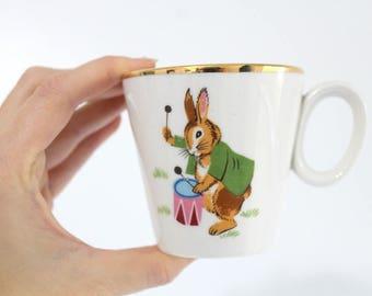 Rare Homer Laughlin Rabbit Bunny Pattern Child's Mug, Child's Teacup, Vintage, Porcelain, Infant Mug, Infant Teacup, Homer Laughlin Collect