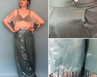 Xs 1930s turquoise wide leg lounge pants with asian brocade hem