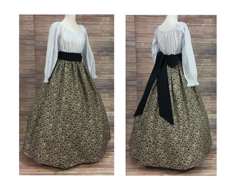 Adult Size XL Complete Outfit-Skirt, Blouse and Sash-Renaissance Civil War Victorian Southern Belle Medieval Pioneer Dress Costume