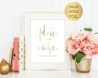 SALE Gold Wedding Advice Sign, Advice and Wishes Sign, Guestbook Sign, Printable Sign, Wedding Sign, Typography Sign, Instant Download