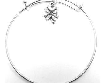 Pewter Four Leaf Clover Bangle Bracelet -5303