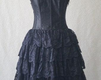 Black lace steampunk goth victorian tiered punk alternative wicca vamp corset dress Size UK 10 L