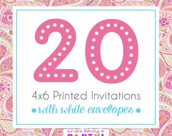 20, 4x6 Invitations with White Envelopes Professionally Printed