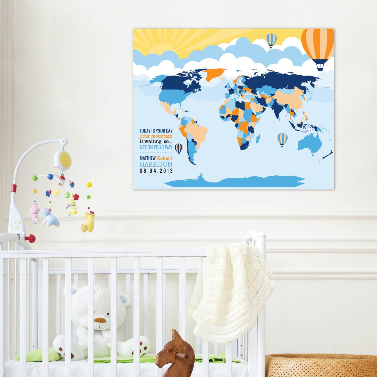 World map art hot air balloon nursery interactive mapbaby zoom gumiabroncs Images