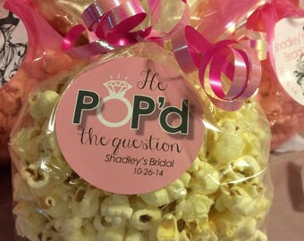 "Personalized ""He Popped the Question"" Bridal Engagement Favor Labels (pack of 24)"