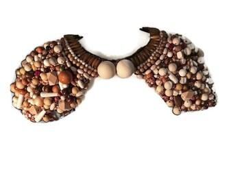 WOODCRAFT Hand Sewn boho shoulder necklace shrug shawl bodice