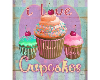 I Love Cupcakes Wall Decal #46713