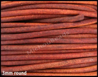 10 Yards 3mm Distressed Rust Brown Round Genuine Natural LEATHER Cord - 30 Feet Indian Boho Leather Cord By the Yard - Instant Ship - USA