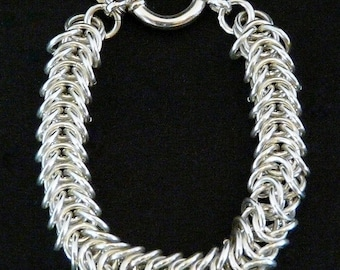 Sterling Silver 8.6mm Byzantine Box Link Bracelet with 18mm Sterling Spring Ring Clasp