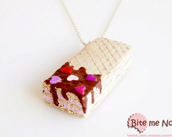 SCENTED Valentine Strawberry Wafer Pendant, Wafer Necklace, Miniature Food Jewelry, Polymer Clay Sweets, Kawaii Jewelry, Cute Jewelry