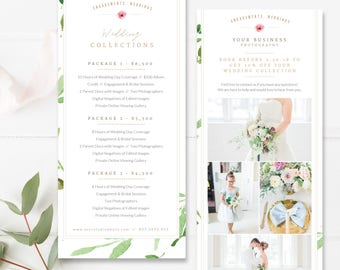 Photography Marketing Card Template, Promo Card Postcard Template, 4x8 Photoshop Rack Card, Wedding Photographer, INSTANT DOWNLOAD!