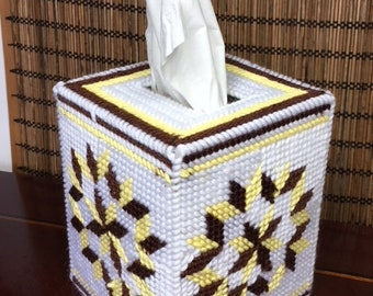 Brown and Yellow tissue cozie    tissue box cover