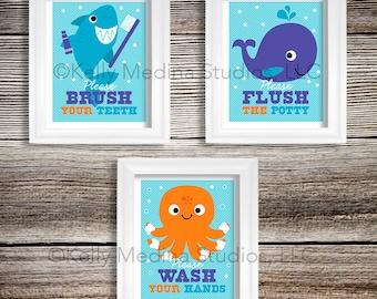 Sea Animal Bathroom Nursery Art Print Set, 8x10, Kids Bathroom Decor, Baby/Children Wall Art - Wash, Brush, Flush Wall Art by Kelly Medina