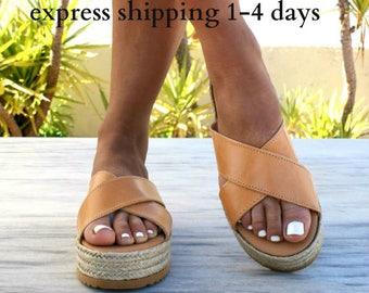 APHRODITE sandals/ Greek leather sandals/ espadrille platform sandals/ ancient grecian sandals/ leather slide sandals/ natural beige sandals