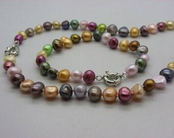 set Pearl Baroque necklace multicolor bracelet