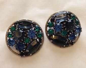 Vintage Blue Rhinestone Earrings - clip-ons
