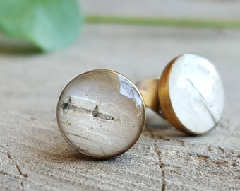 Birch Bark Stud Earrings - Nature Jewelry - Real Birch Bark Jewelry - Woodland Earrings