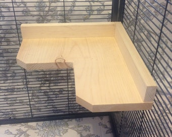 16 inch Kiln Dried Pine Chinchilla Corner Ledge with Poop Guard + Mounting Hardware