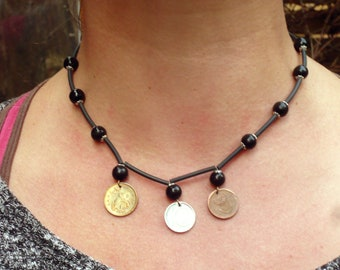 Just my 10 cents, COIN-NECKLACE, a penny for your thoughts! All coins show 10 (Kopeken, h, c)