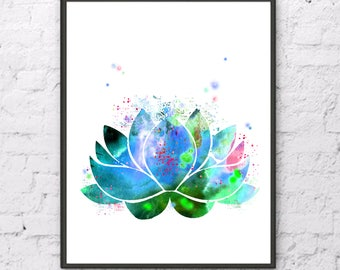 Lotus watercolor Lotus flower print Lotus art Lotus  print Lotus poster Lotus painting Lotus home decor Lotus Blue Green Lotus illustration