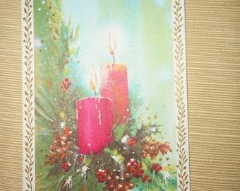 VINTAGE Unused CHRISTMAS CARD Candles