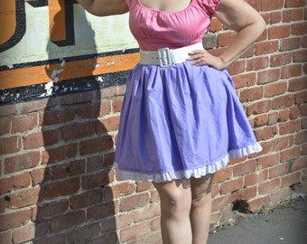 "In Stock:Size XL/1X (14/16) Lavender Purple ""Daisy"" Deluxe Cotton Character Bounding Skirt with Eyelet Detail"