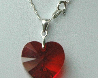Sterling Silver Swarovski Crystal Children Heart Necklace
