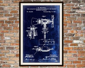 Blueprint Art of Wind Generator from 1891 Technical Drawings Engineering Drawings Patent Blue Print Art Item 0015