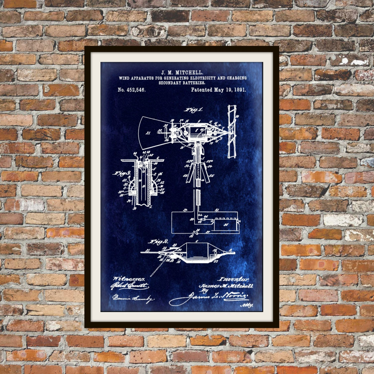 Blueprint art of wind generator from 1891 technical drawings zoom malvernweather Gallery