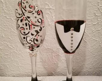 Handmade Custom Wedding Champagne Toasting Flutes, Genuine Swarovski Crystals, Hand Painted, His & Hers, Wedding Gift Keepsake