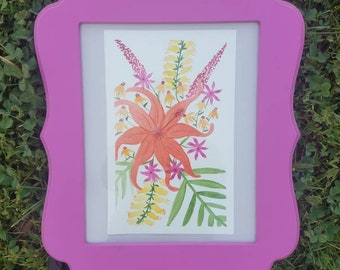 Original Floral Watercolor Framed