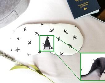 Silk sleep mask, Ergonomic, Silk eye mask, Organic cotton, Adjustable, for Travel  ---  LIL SLEEPING BIRDS, by Dreamers Gear