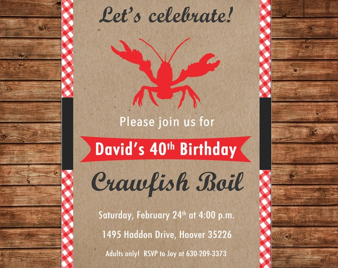 Invitation Crawfish Boil Burlap Red Gingham Crawfish Low Country  - Can personalize colors /wording - Printable File or Printed Cards