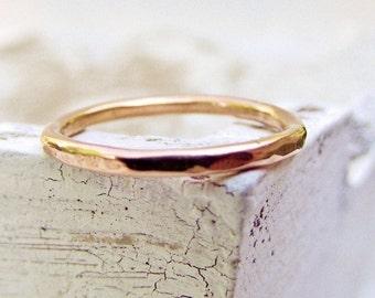 14k Rose Gold Ring - Stacking Ring - Hammered Texture - Stackable Gold Ring - Pink Gold Stacking Ring For Women