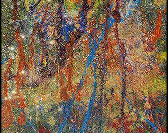 Original Painting - Abstract Painting with Green, Red, Blue, Yellow, Glitter by David Lawter