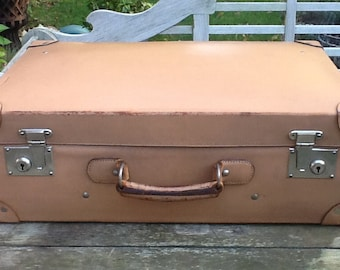 Old natural leather suitcase