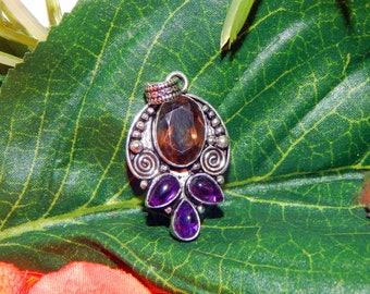 Devata of HECATE inspired vessel - Handcrafted Amethyst Smoky Quartz pendant necklace