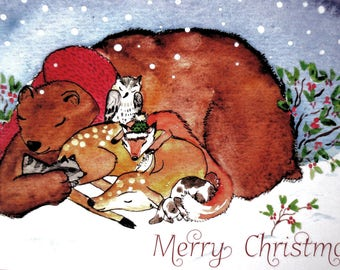 Bear, large/lumbering snuggles with his furry friends to keep each other warm and cozy on a wintery snowy day~ Christmas Cards~Winter Cards