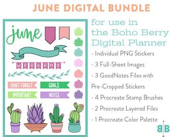 DIGITAL June Sticker Bundle + Bonus Procreate Stamps!