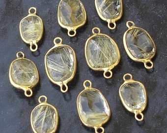 925 Sterling Silver, GOLDEN RUTILATED Quartz, 24K Gold Plated Connector,ONE Piece of 13-16mm