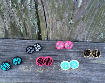 Monogram acrylic earrings, personalized earrings, custom earrings, personalized jewelry, custom jewelry, stud earrings, glitter earrings