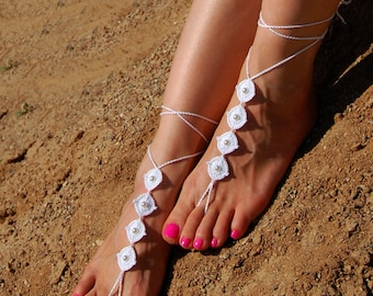 Pearl Foot Jewelry- Barefoot Sandals- Beach Wedding Sandals- Footless Sandals- Barefoot Wedding Sandals- Bridesmaids Gift- Boho Wedding Shoe
