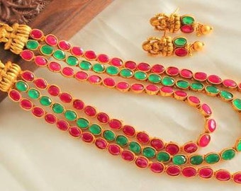 Traditional Necklace Set /Indian necklace | Wedding Jewelry Indian Jewelry |Indian Bridal Jewelry |Temple Jewelry | Indian Wedding Jewelry
