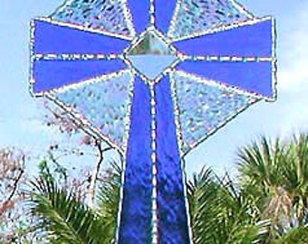 Stained Glass Suncatcher, Christian Gifts, Stained Glass Cross, Blue Cross SunCatcher, Glass Sun Catcher, Christian Sun Catchers, 9515-BL