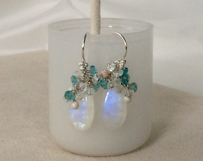 Rainbow Moonstone Drop Earrings in Silver and Apatite and Aquamarine